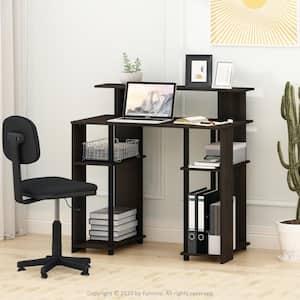 35 in. Rectangular Walnut Computer Desk with Shelves