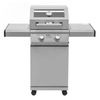 2-Burner Propane Gas Grill in Stainless with Clear View Lid and LED Controls