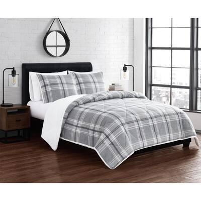 Cozy Teddy 3-Piece Grey Plaid Polyester Full/Queen Comforter Set