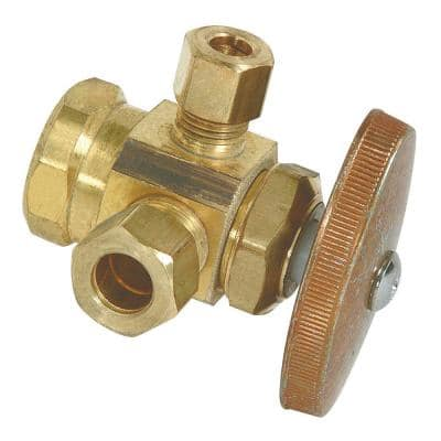 1/2 in. FIP Inlet x 3/8 in. Compression x 1/4 in. Compression Dual Outlet Multi-Turn Valve