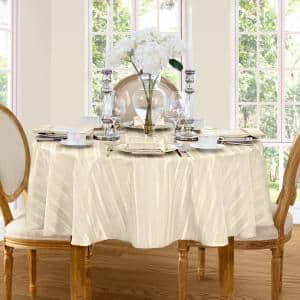 70 in. Round Ivory Denley Stripe Damask Fabric Tablecloth