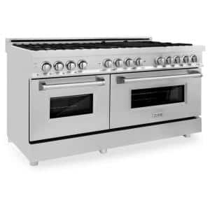 60 in. 7.4 cu. ft. Dual Fuel Range with Gas Stove and Electric Oven in Stainless Steel with Brass Burners