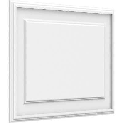 5/8 in. x 24 in. x 18 in. Legacy Raised Panel White PVC Decorative Wall Panel