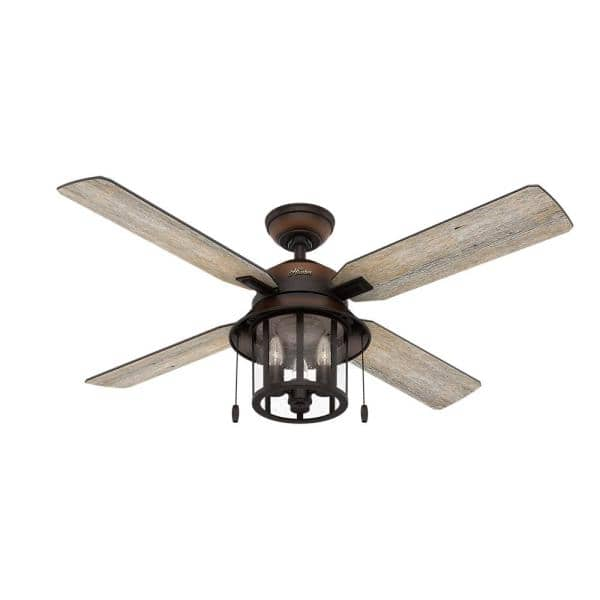Hunter Copperhill 52 In Led Indoor Outdoor Brittany Bronze Ceiling Fan With Light Kit 59638 The Home Depot
