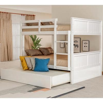 White Full Over Full Bunk Bed with Twin Size Trundle