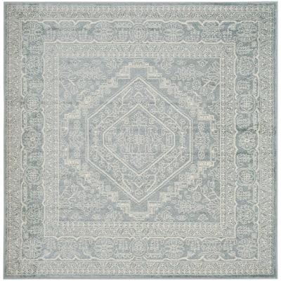 Adirondack Slate/Ivory 4 ft. x 4 ft. Square Area Rug