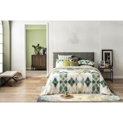 Delara GOTS Certified Reversible Print 3-Piece Green Aztec 100% Organic Cotton King Duvet Cover Set