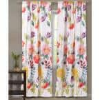 Multi Colored Floral Rod Pocket Sheer Curtain - 42 in. W x 84 in. L