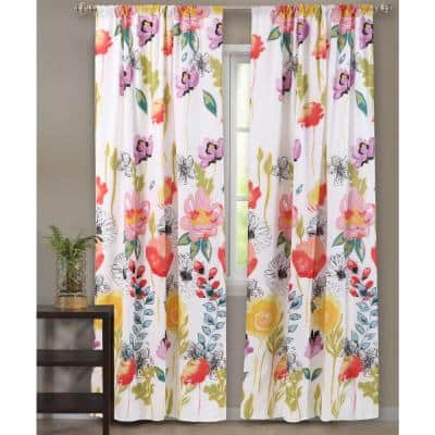 Multi Colored Floral Rod Pocket Sheer Curtain - 42 in. W x 63 in. L