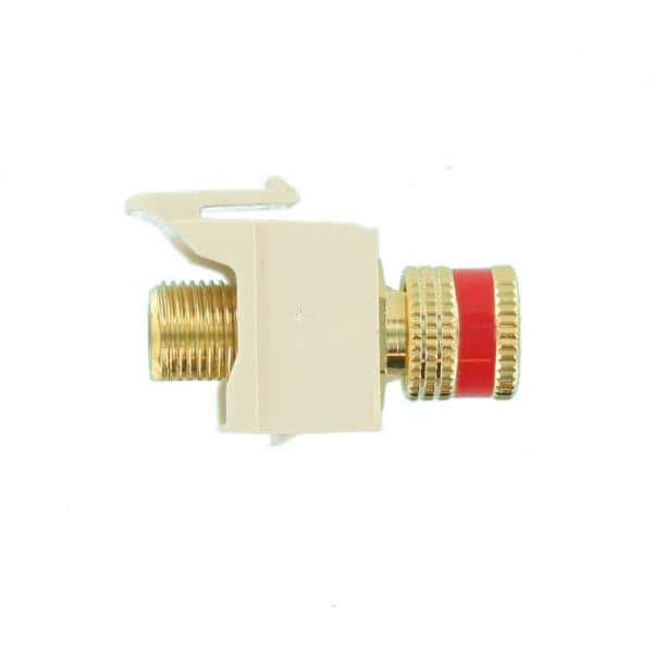 Leviton Quickport Binding Post Connector With Red Stripe Light Almond 40833 Btr The Home Depot