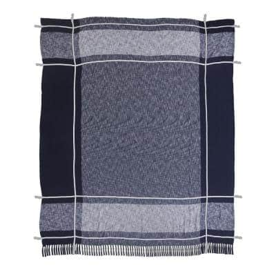 Minimal Modern Navy Blue/White Plaid Fringed Queen Cotton Coverlet