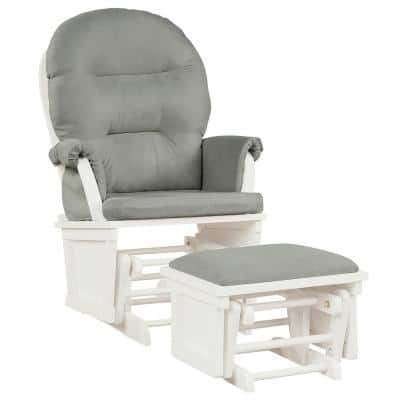 Light Grey Baby Nursery Relax Rocker Rocking Chair Glider and Ottoman Set with Cushion