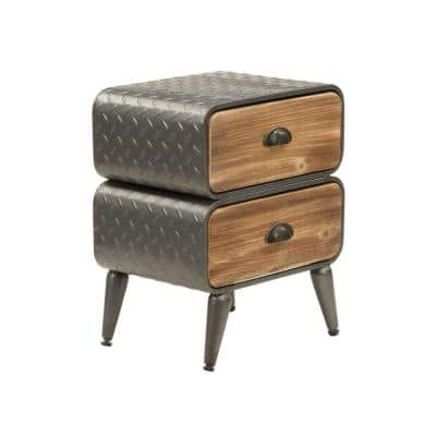 Stacked Design 2-Drawer Gray Brown Metal Frame Accent Storage Chest Splayed Legs 18.9 in. H x 16.5 in. W x 11.75 in. L