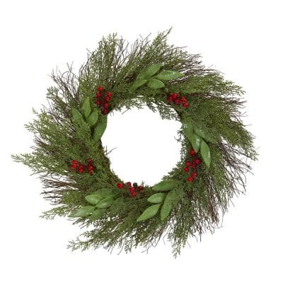 20in. Cedar and Ruscus with Berries Artificial Wreath