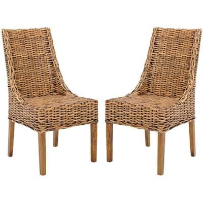 Suncoast Brown Rattan & Mango Wood Side Chair (Set of 2)
