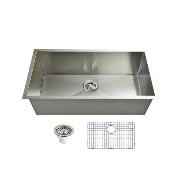 Sink Depot 16 Gauge Stainless Steel 33 In Single Bowl Zero Radius Corner Undermount Kitchen Sink With Bottom Grid Sd128101 The Home Depot