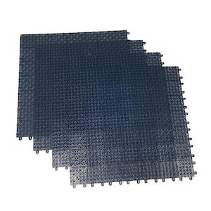 Blue Regenerated 22 in. x 22 in. Polypropylene Interlocking Floor Mat System (Set of 4 Tiles)