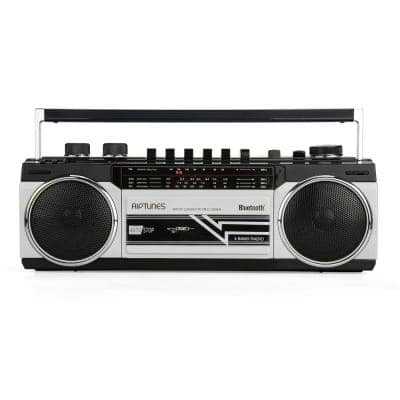 Retro Radio and Cassette Boombox with Bluetooth in Silver