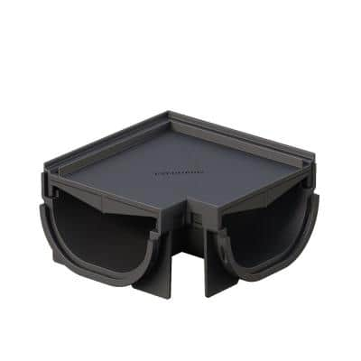 Compact Invisible Edge 90° Outer Corner for 5.4 in. Modular Trench and Channel Drain Systems, Black