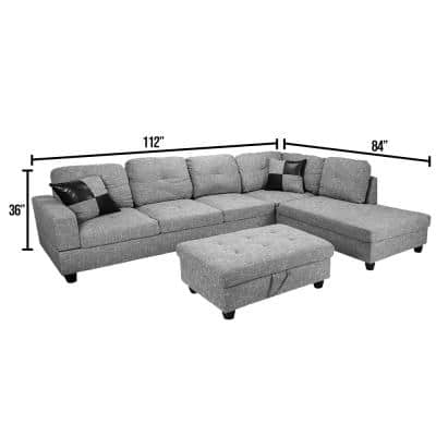 3-Piece Light Gray Linen 4-Seater L-Shaped Right-Facing Chaise Sectional Sofa with Ottoman