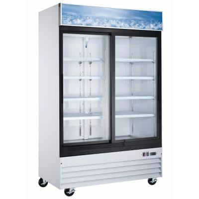 53.4 in. W 45 cu. ft. 2-Sliding Glass Doors Commercial Merchandiser Refrigerator in White with Top LED Display Panel