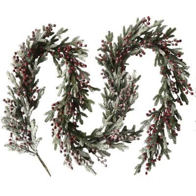 9 ft. Snow Covered Christmas Garland with Berries in Green