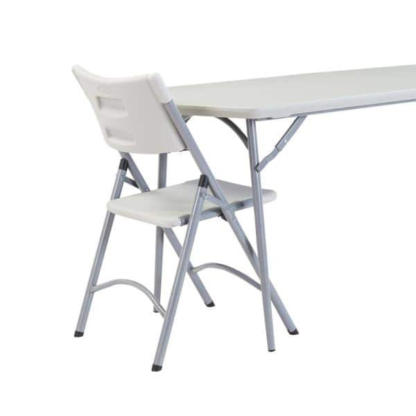 National Public Seating 72 In Grey Plastic Fold Half Folding Banquet Table Bmfih3072 The Home Depot