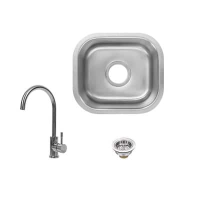 18 Gauge Stainless Steel 15 in. Undermount Bar Sink with Gooseneck Chrome Faucet and Strainer Basket