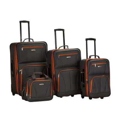 Rockland Sydney Collection Expandable 4-Piece Soft side Luggage Set, Charcoal