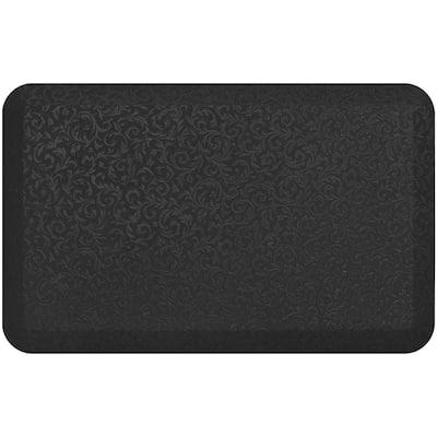 NewLife Black 20 in. x 32 in. Polyurethane Foam Embossed Vine Professional Grade Anti-Fatigue Comfort Mat
