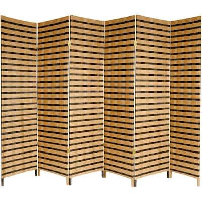 6 ft. 2-Tone Natural Fiber 6-Panel Room Divider