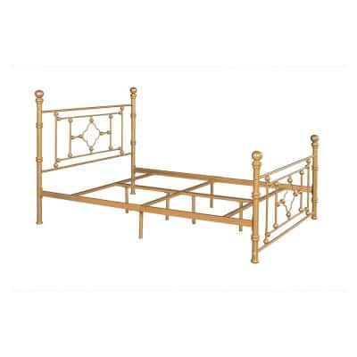 Gold Queen Size Standard Metal Platform Bed