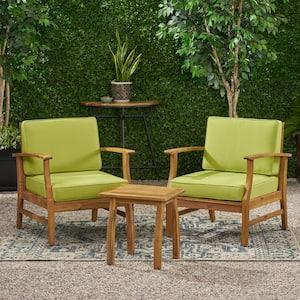Vifah Gloucester 3 Piece Wood Patio Conversation Set With Light Blue Cushions V1921set2 The Home Depot