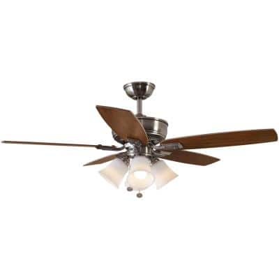 Devron 52 in. Brushed Nickel LED Smart Ceiling Fan with Light and Remote Works with Google Assistant and Alexa