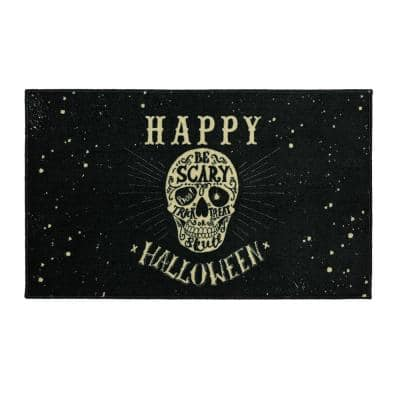 Be Scary Skull Black 2 ft. 6 in. x 4 ft.2 in. Holiday Area Rug