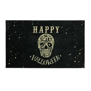 Be Scary Skull Black 2 ft. 6 in. x 4 ft.2 in. Halloween Indoor Area Rug