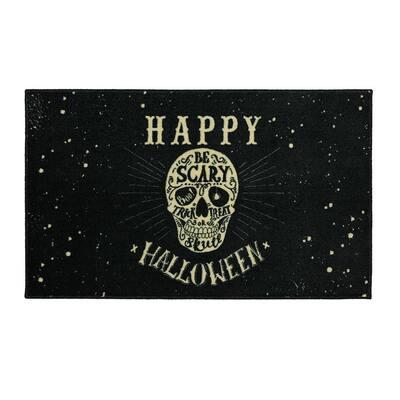 Be Scary Skull Black 2 ft. 6 in. x 4 ft.2 in. Halloween Indoor Area Rug