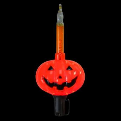 9 ft. 10-Light Jack O'Lantern Pumpkin Halloween Bubble Light Set in Black Wire