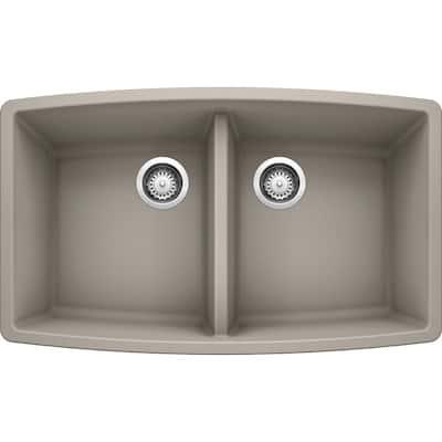 PERFORMA Concrete Gray Granite Composite 33 in. 50/50 Double Bowl Undermount Kitchen Sink