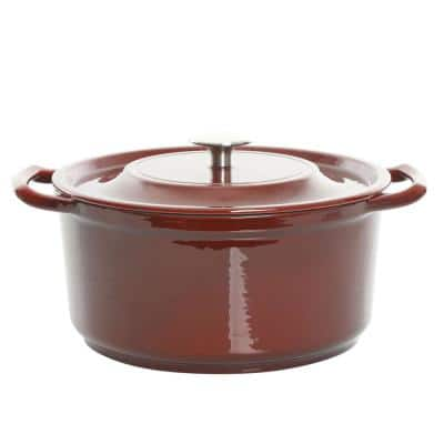 Oak Park 5 Qt. Enameled Cast Iron Casserole with Lid and Glass Steamer in Red