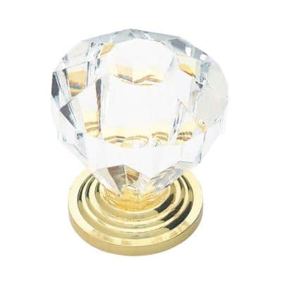 1-1/4 in. (32 mm) Polished Brass with Clear Faceted Acrylic Cabinet Knob