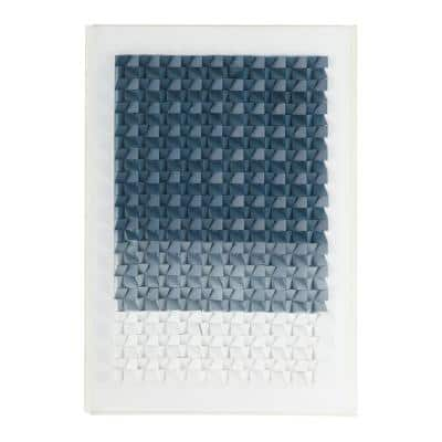 Rectangular Blue and White Acrylic Shadow Box Wall Art, 29.5 in. x 39.75 in.