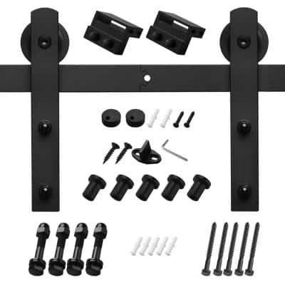 6 ft./72 in. Black Sliding Barn Door Track and Hardware Kit with I-Shape Hanger For Single Door