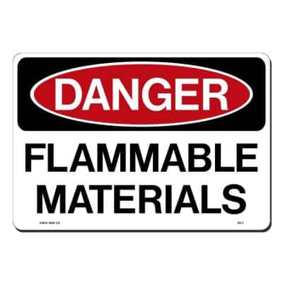 14 in. x 10 in. Danger Flammable Material Sign Printed on More Durable, Thicker, Longer Lasting Styrene Plastic
