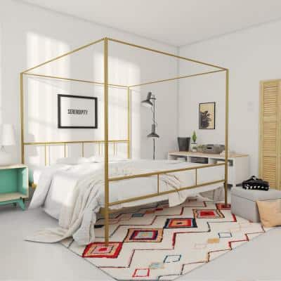 Marion Gold King Size Canopy Bed