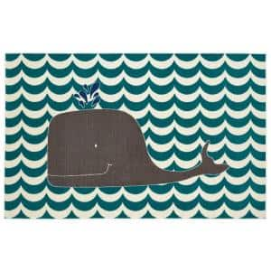 Oh Whale Blue 5 ft. x 8 ft. Whimsical Area Rug
