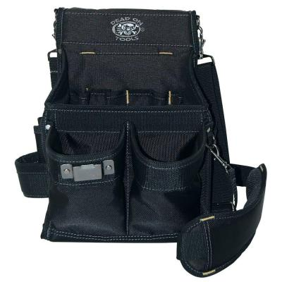 11 in. 14-Pocket Electricians Professional Tool Pouch in Black with Steel Loop and Clip to Hold Tools Securely