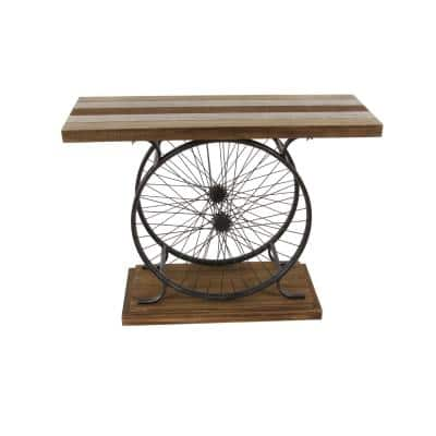 38 in. Brown Standard Rectangle Wood Console Table