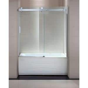 Judy 60 in. x 59 in. Semi-Framed Sliding Trackless Tub and Shower Door in Chrome with Clear Glass