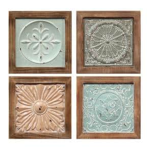 Victoria Indoor Wool/Metal Framed Tiles Wall Decor 4-Set